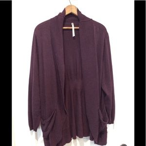Grape long line cardigan sweater